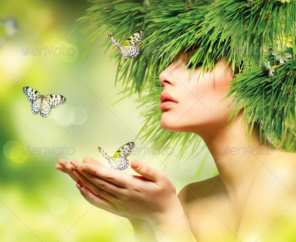 Spring Woman. Summer Girl with Grass Hair and Green Makeup - Stock Photo - Images