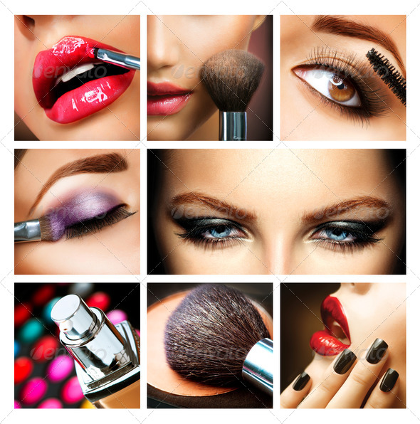 Makeup Collage. Professional Make-up Details. Makeover - Stock Photo - Images