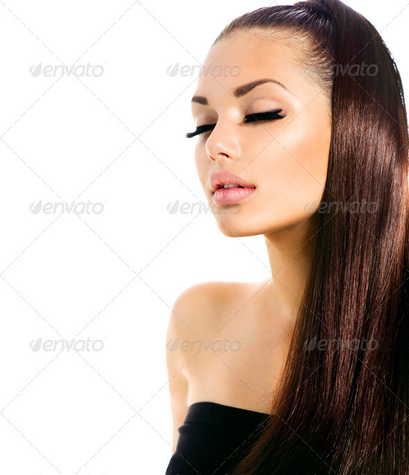 Beauty Fashion Model Girl with Long Healthy Hair - Stock Photo - Images