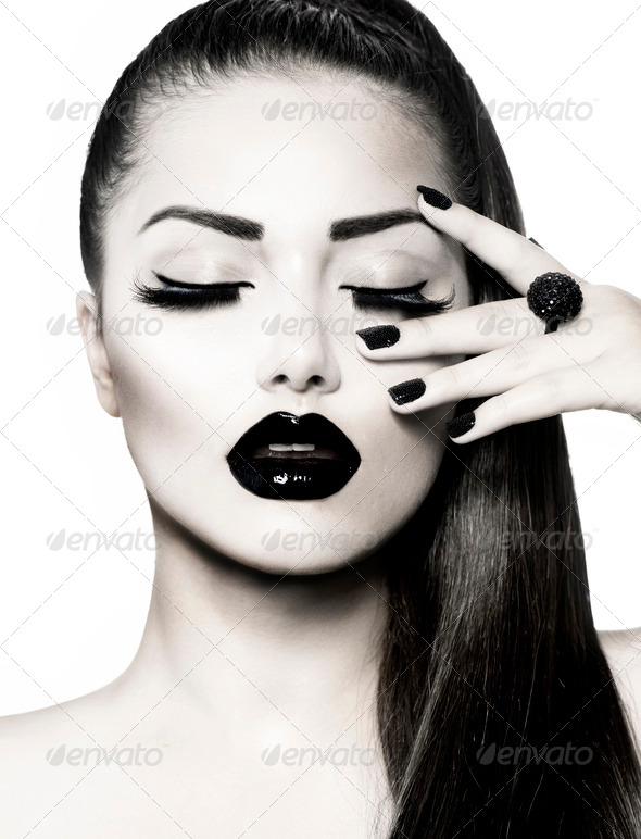Black and White Brunette Girl Portrait. Trendy Caviar Manicure - Stock Photo - Images