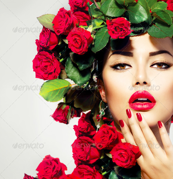 Beauty Fashion Model Girl Portrait with Red Roses Hairstyle - Stock Photo - Images