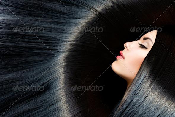 Healthy Long Black Hair. Beauty Brunette Woman - Stock Photo - Images