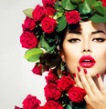Beauty Fashion Model Girl Portrait with Red Roses Hairstyle - PhotoDune Item for Sale