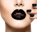 Trendy Black Caviar Manicure and Black Lips. Fashion Makeup - PhotoDune Item for Sale