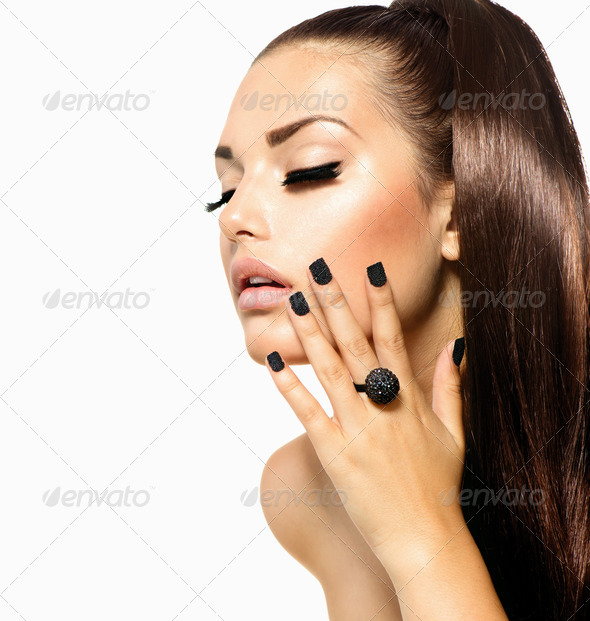 Beauty Fashion Girl with Long Hair. Trendy Caviar Black Manicure - Stock Photo - Images