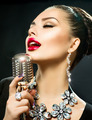 Singing Woman with Retro Microphone - PhotoDune Item for Sale