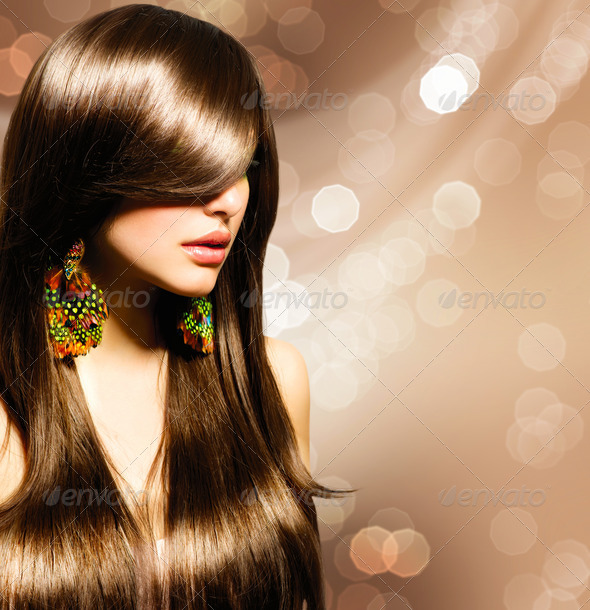 Beautiful Brunette Girl. Healthy Long Brown Hair - Stock Photo - Images