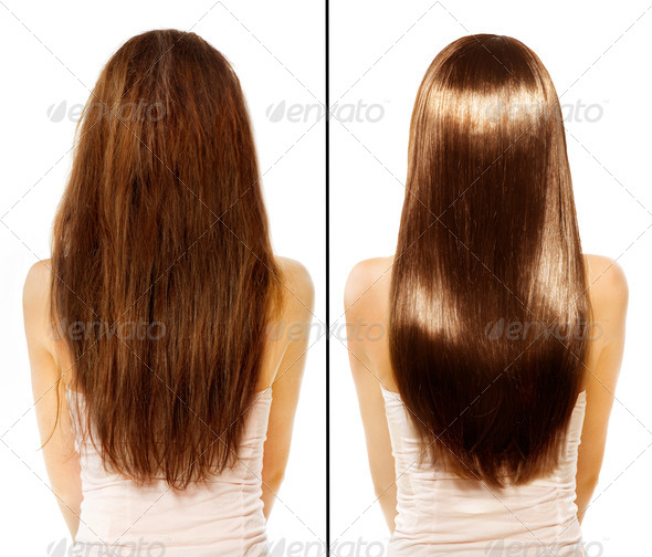 Before and After Damaged Hair Treatment - Stock Photo - Images