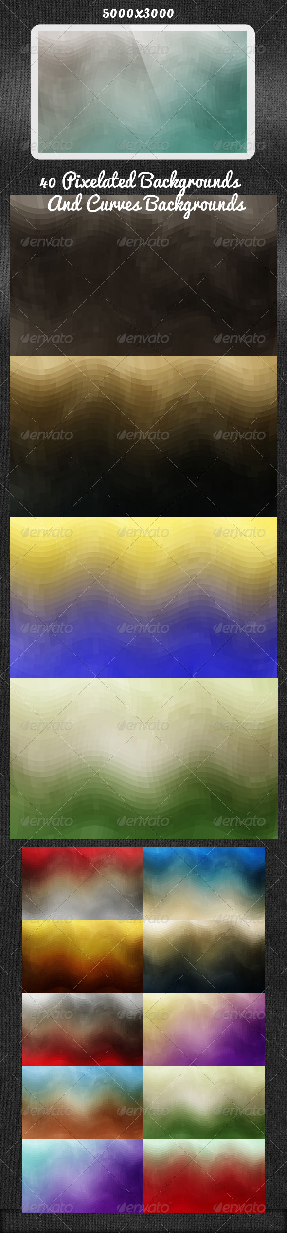 GraphicRiver 40 Pixelated Backgrounds And Curves Backgrounds 5403880