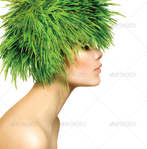 Beauty Spring Woman with Fresh Green Grass Hair - Stock Photo - Images
