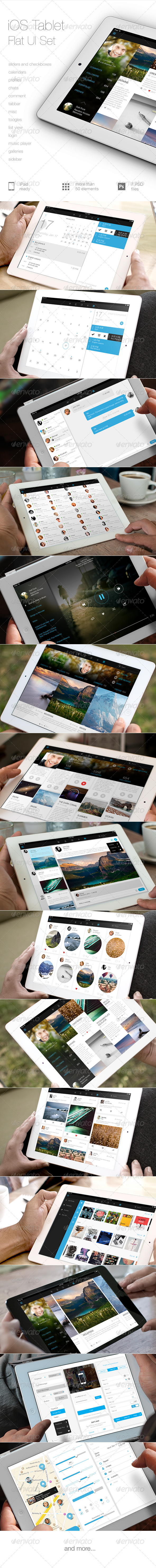 GraphicRiver iOS Tablet Flat UI Set 5403958