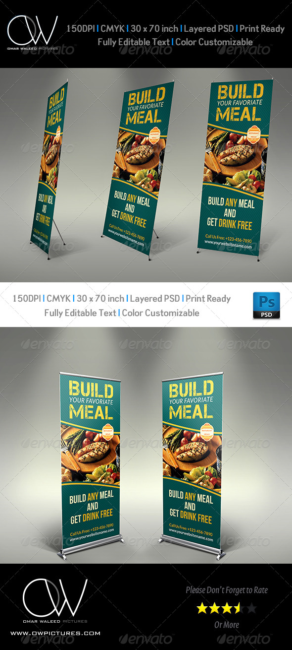 GraphicRiver Restaurant Roll-up Signage Banner Template 5404385