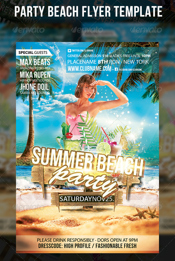 GraphicRiver Party Beach Flyer Template 5404405