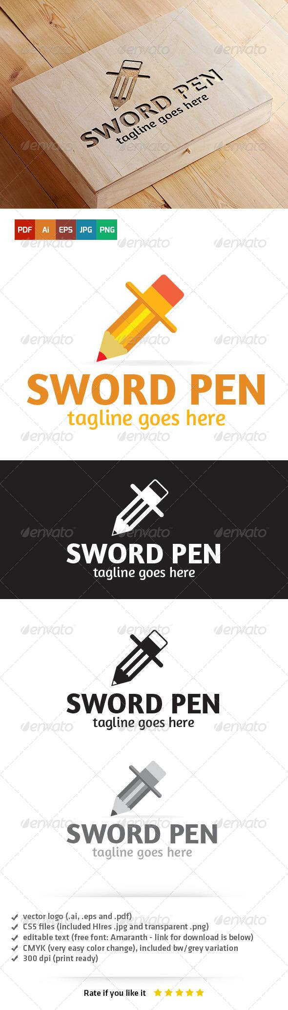 GraphicRiver Sword Pen Logo 5404526
