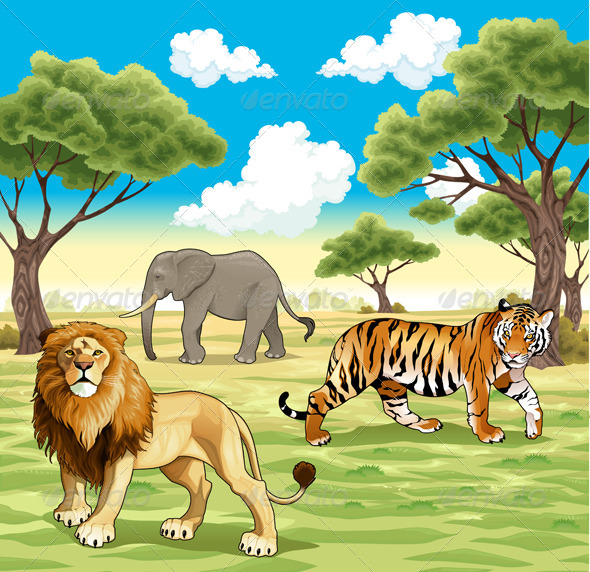 GraphicRiver African Animals in Nature 5404660
