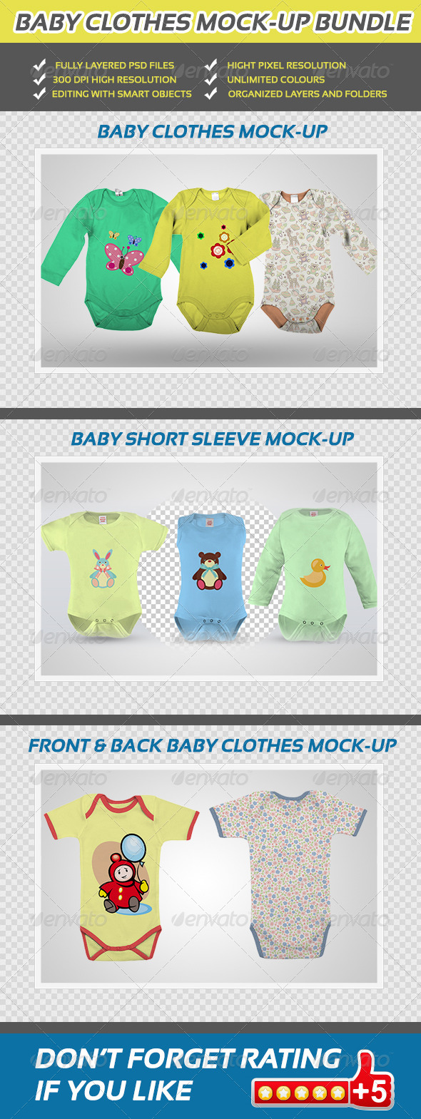GraphicRiver Baby Clothes Mock-up Bundle 5404980