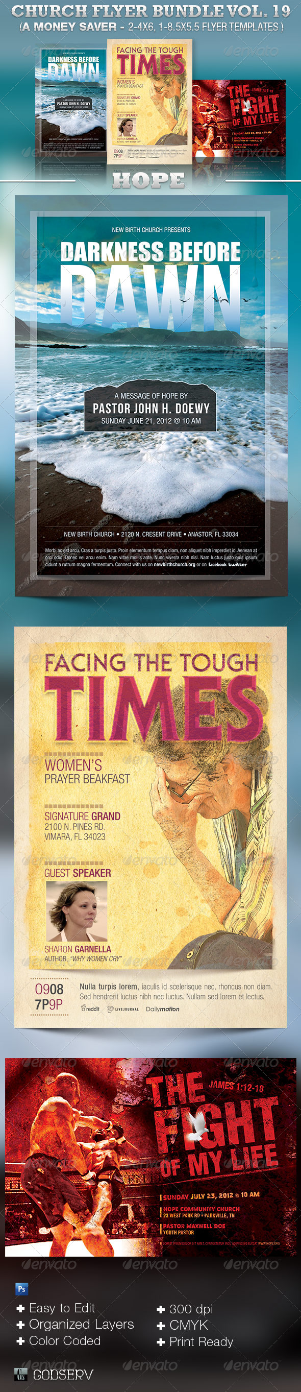 Church Flyer Template Bundle Vol 19: Hope - Church Flyers
