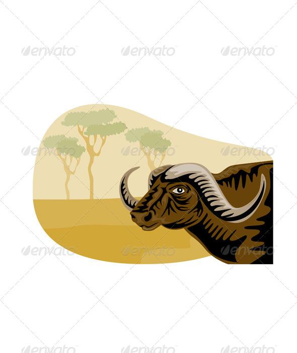 GraphicRiver African Buffalo Retro 5406086