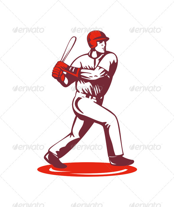 GraphicRiver Baseball Player Retro 5406158