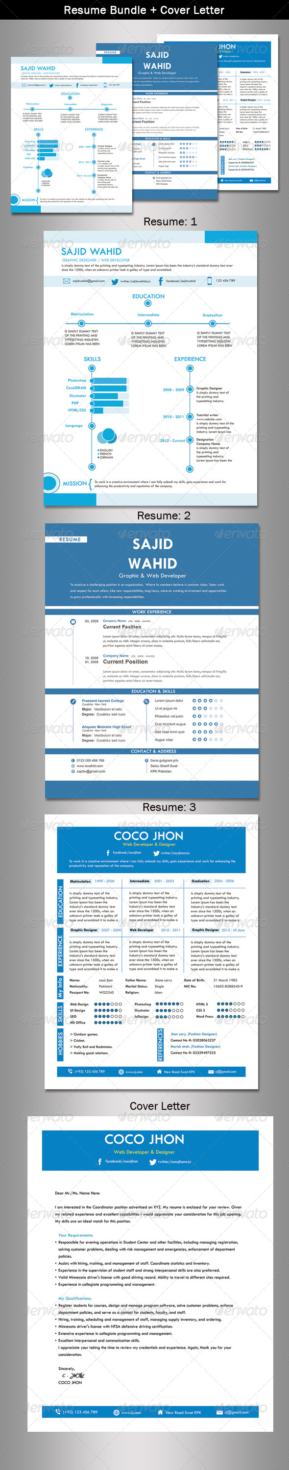 GraphicRiver Resume Bundle & Cover Letter 5406828