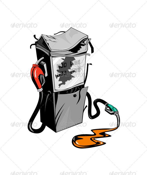 GraphicRiver Broken Fuel Pump Station Retro 5407241