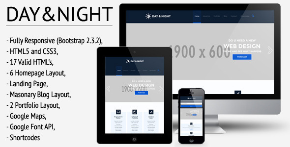 ThemeForest Day&Night Responsive HTML5 CSS3 Template 5391139