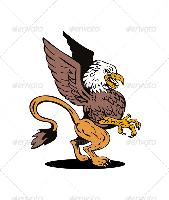 GraphicRiver Griffin Lion Fighting 5407259
