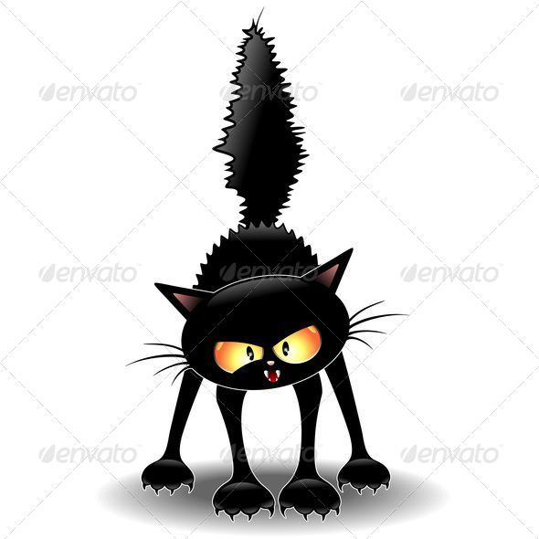 GraphicRiver Fierce Black Cat Cartoon 5408252