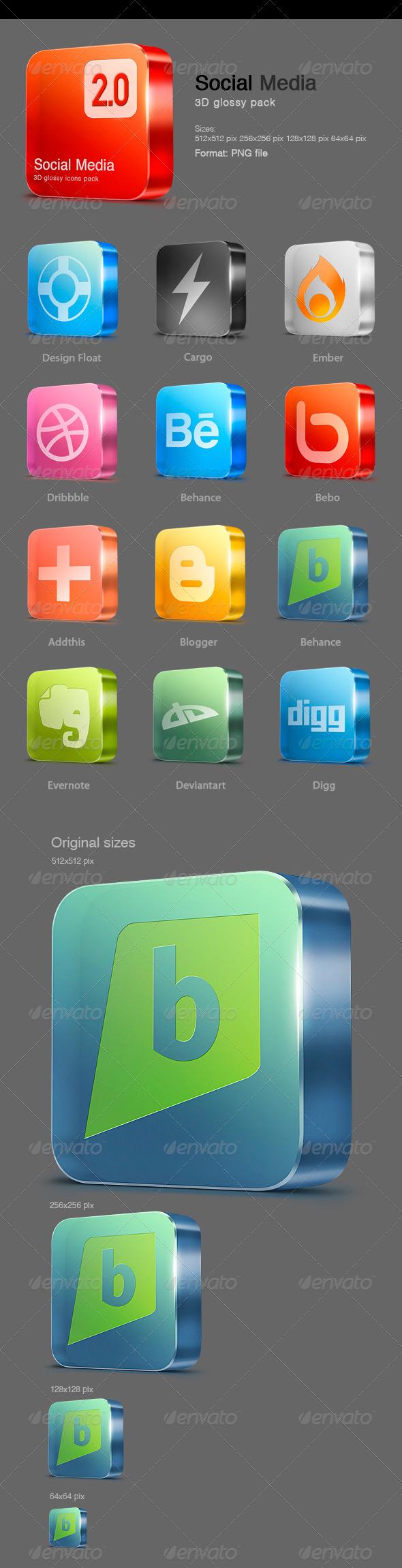 12 Glossy Social Media icons v 2.0 - Web Icons