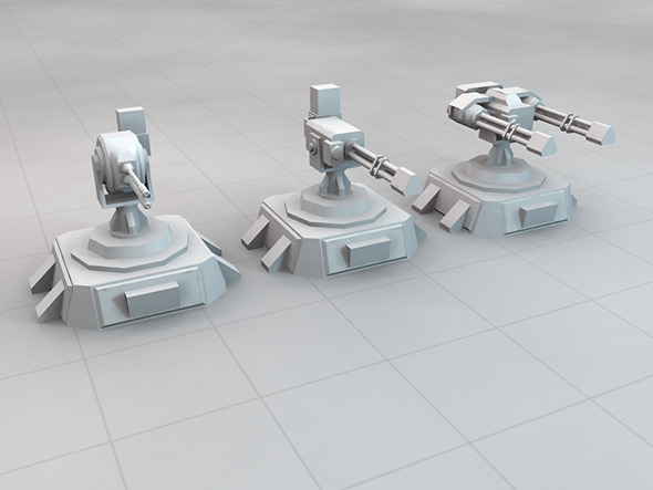 3DOcean SCi-FI Turret Set 5408386