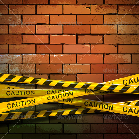 GraphicRiver Caution Ribbons on Brick Wall 5408552