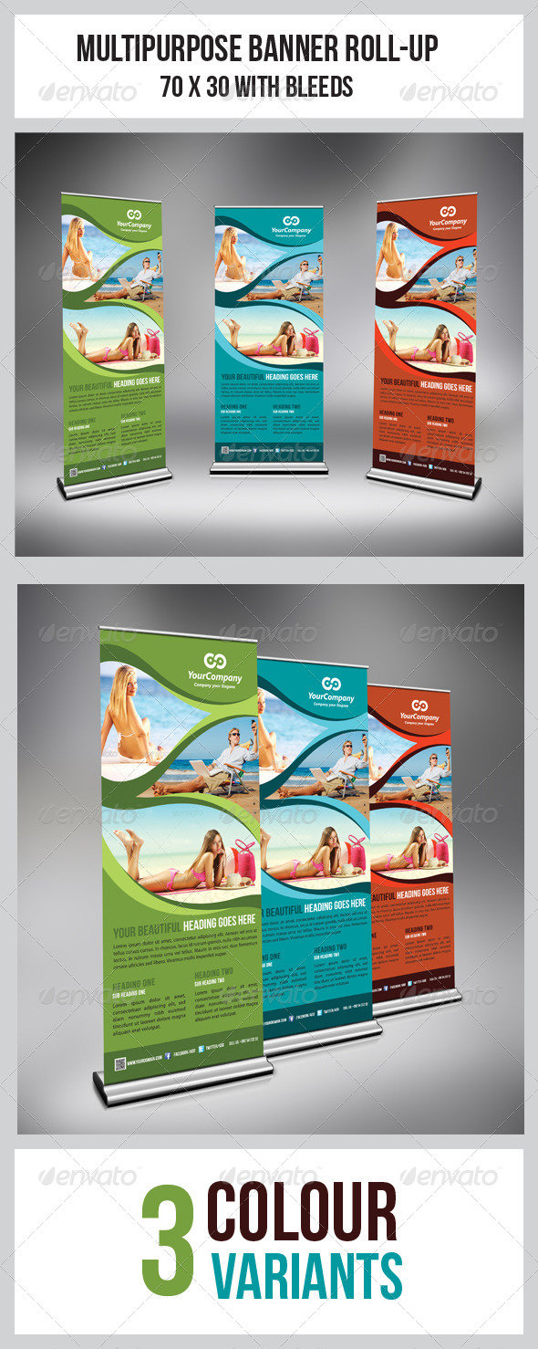Tourism Flyer Roll-Up Banner - Signage Print Templates