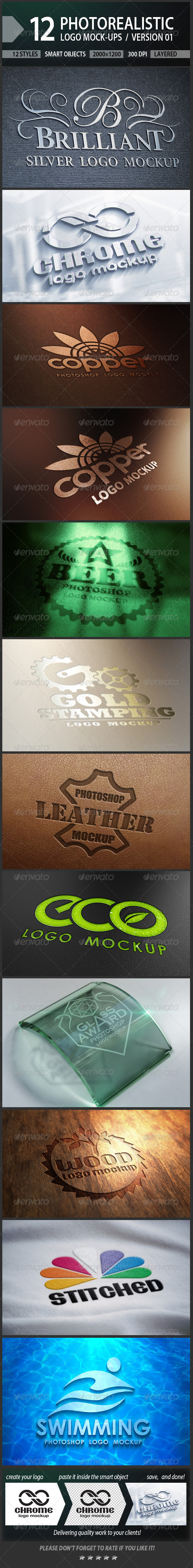 12 Photorealistic Logo Mock-ups / Version 01 - Logo Product Mock-Ups