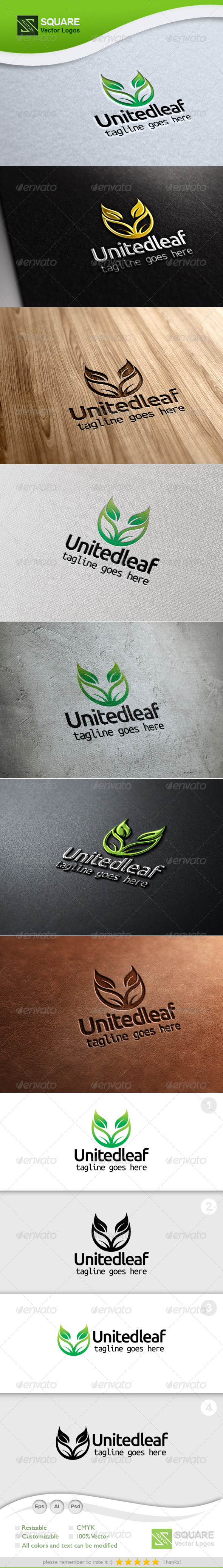 U, Leaf Vector Logo Template - Letters Logo Templates