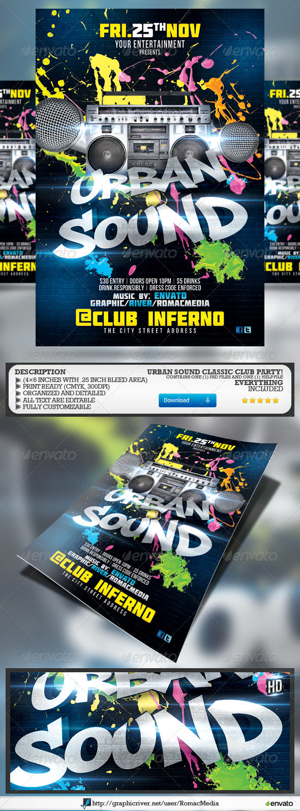 GraphicRiver Urban Sound Party Flyer 5316307