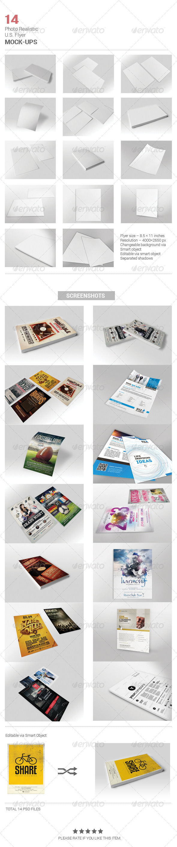 GraphicRiver 14 REALISTIC U.S FLYER MOCK-UPS 5409702