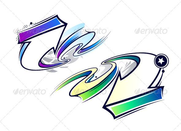 GraphicRiver Two Curve Graffiti Arrows 5409701