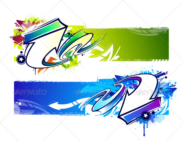 GraphicRiver Two Abstract Graffiti Banners 5409709