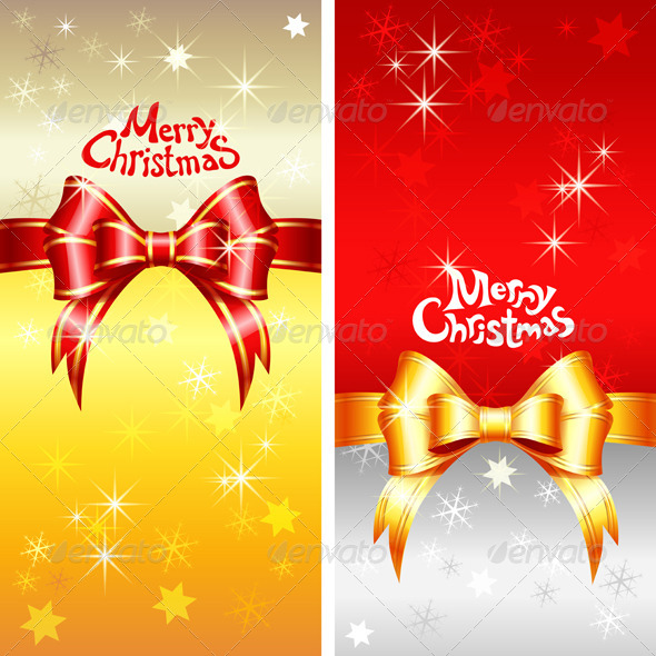 Vector Greeting Card with Christmas Bow  - Christmas Seasons/Holidays