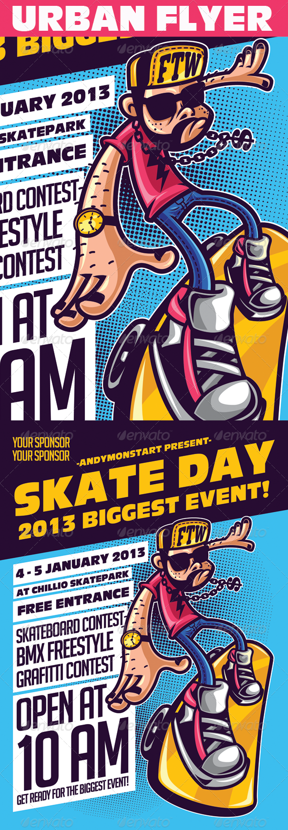GraphicRiver Skate Day Urban Event Flyer 5410601