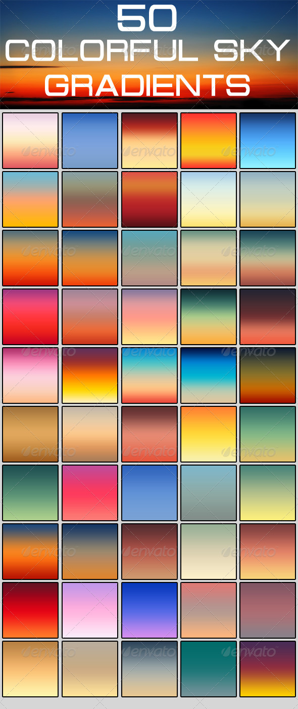 GraphicRiver 50 Colorful Sky Gradients 5410660