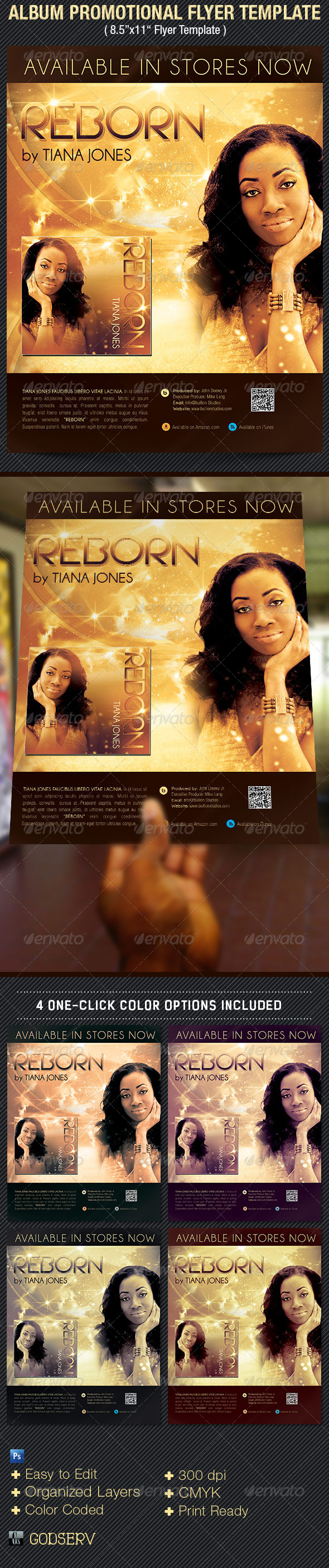 Album Release Promotional Flyer Template - Flyers Print Templates