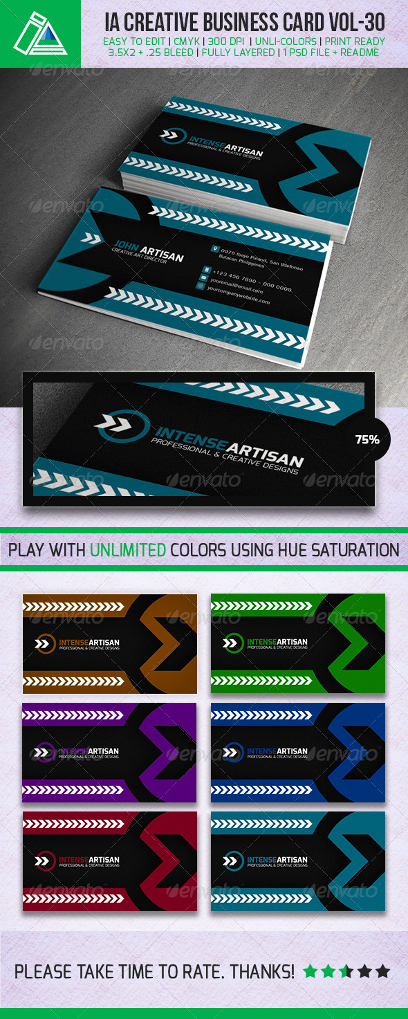 GraphicRiver IntenseArtisan Business Card Vol.30 5380074