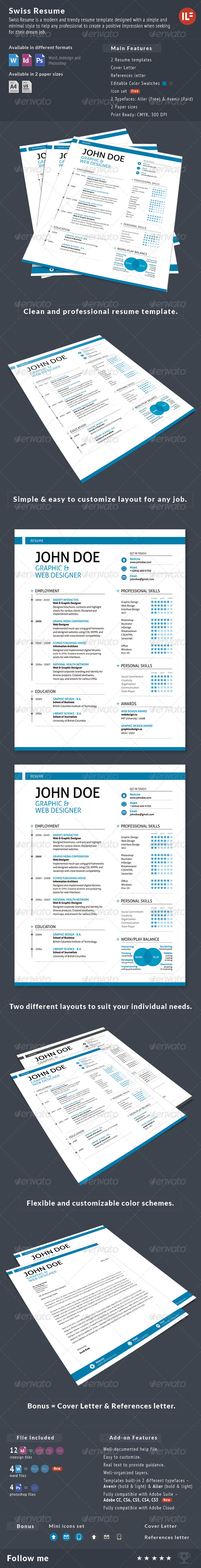 3-Piece Swiss Style Resume set - Resumes Stationery