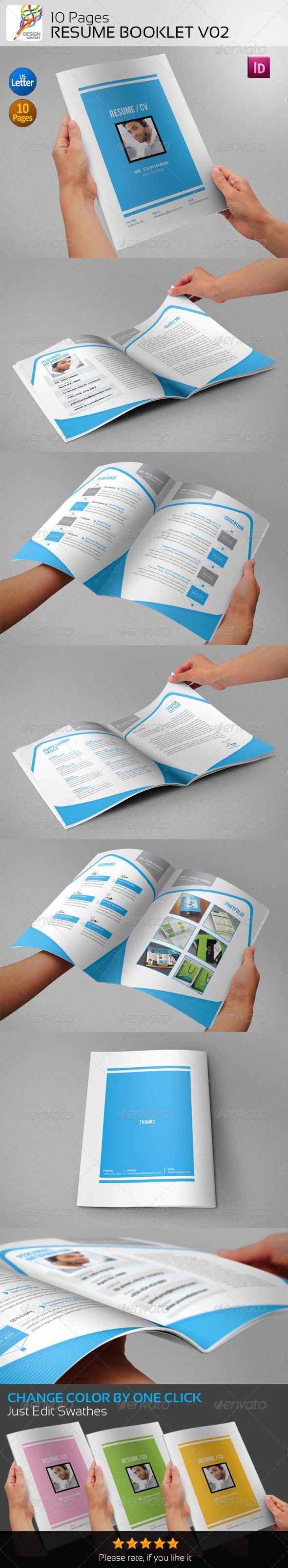 GraphicRiver 10 Pages Resume Booklet V02 5411520