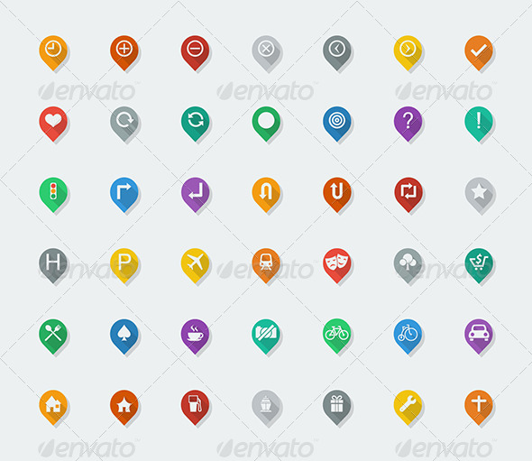 GraphicRiver 42 Colorful Map Indicator Icon Flat Design 5382474