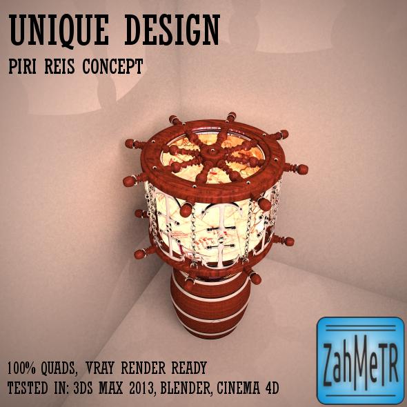 3DOcean Marine Lampshade Piri Reis Concept 5412705