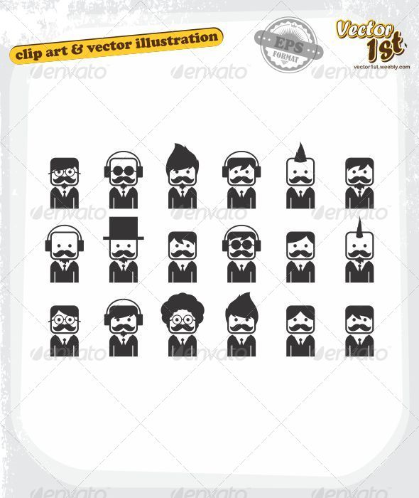 GraphicRiver Mustache Guy Various Avatar 5412729