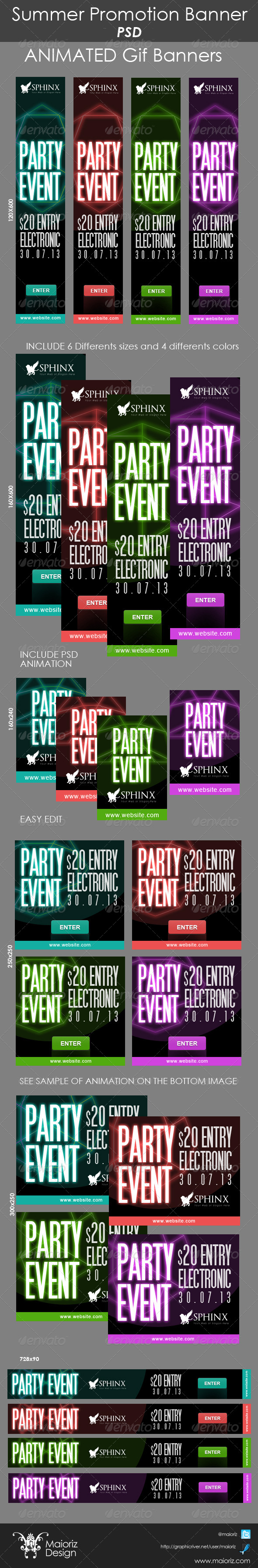 Party Promotion Banners - Banners & Ads Web Elements