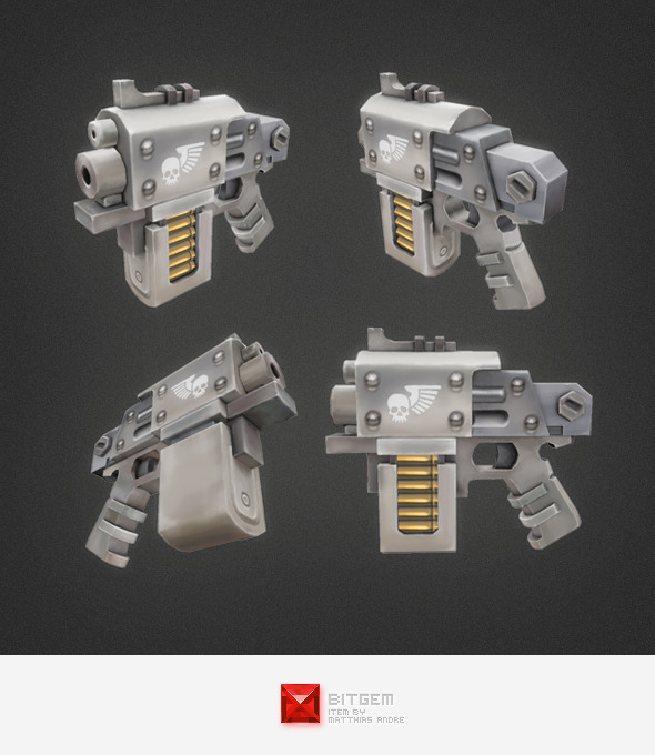 Low Poly Hand Gun 01 - 3DOcean Item for Sale